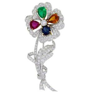 2.20ct Round Diamond 14K White Gold Emerald Ruby Sapphire Topaz Brooch Pin