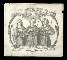 santino incisione 1700  SS.VERISSIMO MASSIMA E GIULIA MM. A LISBONA
