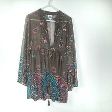 Ivy Jane womens tunic size XS brown floral babydoll sheer bell sleeve v neck