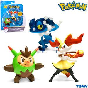 TOMY T18840 Pokemon Quilladin & Braixen & Frogadier Set 3 pc, Figurine, Original
