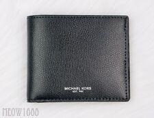 New in box Authentic Michael Kors Men WARREN Black Leather Billfold Wallet $118