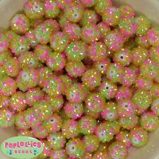14mm Spring Confetti Rhinestone Resin Bubblegum Beads Lot 20 pc.chunky gumball