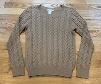 H&M Basic Beige Camel Scoop Neck Long Sleeve Cable Knit Sweater Womens Size XS