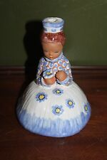 Beautiful Antique Made in Hungary Hand made Glazed Pottery Girl Candle Holder
