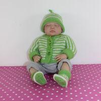 PRINTED KNITTING PATTERN-BABY EASY STRIPE ONEPIECE CARDIGAN,BEANIE HAT & BOOTIES