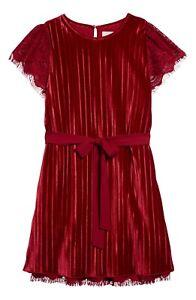 NWT Peek Kids' Girls' Red Kate Tie Belt Velour Dress in Burgundy Size S (6-7)