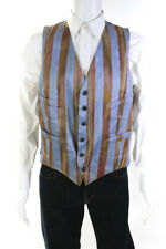Paul Smith Mens Button Front V Neck Striped Vest Blue Brown Linen Size Medium