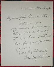 JOHN JAY CHAPMAN SIGNED AUTOGRAPHED Letter Note American Author 1930