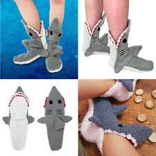 Women Men Keep Warm Wool Knitted Cartoon Shark Floor Shoes Socks Funny Socks UK