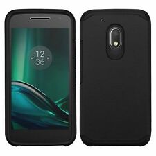 For Motorola Moto G4 Play Black Hard Silicone Hybrid Rubberized Case
