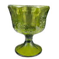 Vintage Indiana Glass Green Harvest Grape Footed Compote Or Planter