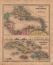 1860 Two-Sided Original J H Colton Map West Indies, Cuba, Hayti, Jamaica/SA