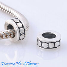 Solid .925 Sterling Silver European Rubber Stopper Spacer Bead Charm w/ Circles