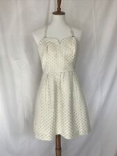 Anthropologie Moulinette Souers White and Silver Metallic Dress Size 8