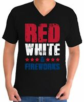 Red White And Fireworks Men's V-neck T shirts Shirts Tops USA Flag 4th Of July