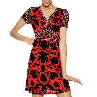 Desigual VEST CELESTINO Black & Red Short Sleeve V Neck Dress Size S