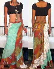 ETHNIC BOHO GYPSY EXTRA LONG PATCH PANELED CHIFFON HIPPIE MAXI SKIRT