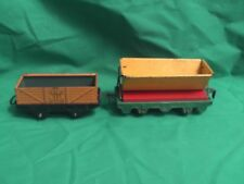 BRIMTOY O GAUGE RAILWAY OPEN AND SIDE-TIPPING HOPPER TIN WAGONS X 2 IN V.G.C.