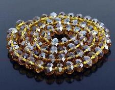 6x8mm, fumer cristal  en vrac perles, 70pcs