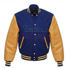 Varsity Letterman Royal Blu Lana Giacca Giallo con maniche in pelle