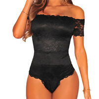 Ladies Womens Off Shoulder Sleeveless Lace Bodysuit Leotard Bardot Size 8 10 12