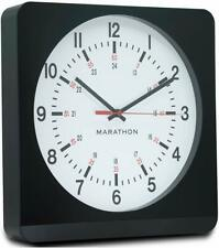 Marathon Silent Non-Ticking Analog Wall Clock with Warm Amber Auto Back Light