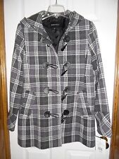 NWT NEW $260 Nine West Plaid Gray White Purple Wool Blend Coat Jacket Size 12