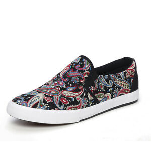 Mens Casual Low TopComfort Street ShoesFlats Pull On Loafers Floral Printing