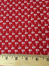 Fabric Cotton Mini White Swans Red Background with Green Dots Quilt Craft Print