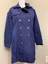 Joan Rivers Water Resistant Trench Coat w/ Removable Hood - Regular 2 -Dark Navy