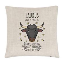 Taurus Horoscope Linen Cushion Cover Pillow - Horoscope Star Sign Zodiac