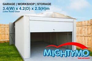Garage Shed, 3.4(W)x4.2(D)x2.5(H)m, Garden, Storage, Workshop, Large Steel Shed