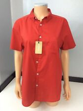 Pure Dkny New Red Blouse Shirt Bnwts Size M Short Sleeve