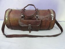 """21"""" Leather Bag Barrel Duffle Bag Gym Travel Sports Yoga Shoulder Bag"""