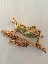 Signed Swan Swarovski Gold Plated Large Grasshopper Brooch Pin
