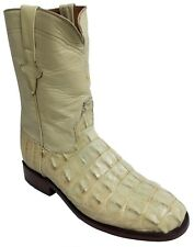 Mens Off White Alligator Exotic Skin Leather Cowboy Boots Roper Toe Size 9.5