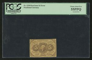 FR1230 5¢ 1ST ISSUE INVERTED BACK ERROR PCGS 55 PPQ ABOUT NEW EXT RARE HW1566