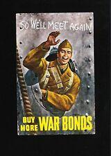 WWII Patriotic Postcard Buy More War Bonds Soldier Mailed Elmer LA 1943 5x