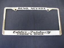 NOS  EDDIE'S FAB 50'S CASINO RENO NV. embossed metal frame license plate tag