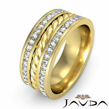 Pave Diamond Rope Eternity Ring 18k Yellow Gold 9.5mm Mens Wedding Band 1.75Ct