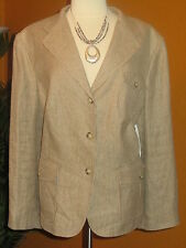 RALPH LAUREN 22W  NWT linen beige brown plaid classic women's jacket $279