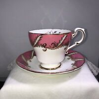 Vintage Paragon England Pink White Tea Cup And Saucer Gold Trim Accents