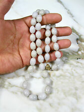 VINTAGE CHINESE TYPE A LAVENDER JADEITE JADE OLIVE SHAPE BEADS 14K GOLD NECKLACE