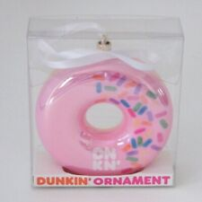 2019 Dunkin Donuts Christmas Ornament Pink Strawberry Frosted With Sprinkles