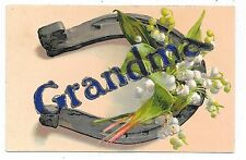 Vintage Large Letter Grandma Postcard Silver Horseshoe Lily Of The Valley Flower
