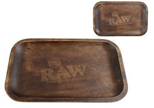 RAW WOODEN ROLLING TRAY SOLID STURDY CURVED EDGES ACACIA WOOD