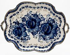 Porcelain Gzhel Tray dish cobalt blue & gold plated author's work