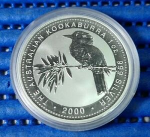 2000 Australia $5 Kookaburra 1 oz 999 Fine Silver Coin with Capsule