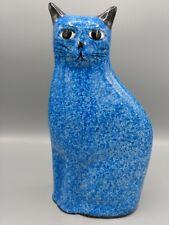 "Vintage Blue Mottled Sponged Ceramic Cat Siamese 10"" High"