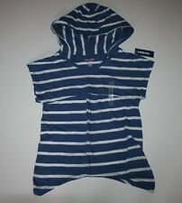 New Old Navy Short Sleeve Blue White Striped Top Hooded Shirt Girls 6 7 Year NWT